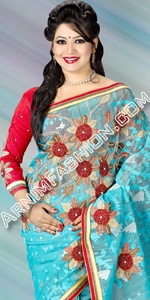 Sky Dhakai Jamdani  Dhakai Jamdani Saree, Eid Collection 2014, Saree, Sharee, Sari, Bangladeshi Saree