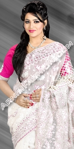 White Exclusive Saree Dhakai Jamdani Saree, Eid Collection 2014, Saree, Sharee, Sari, Bangladeshi Saree