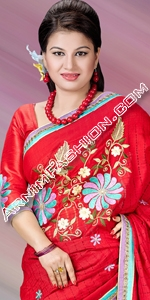 Red Half Silk Saree Half Silk Saree, Andy Silk, ND Silk, Endy Silk, Bangladeshi Andy Silk Saree, Bangladesh Saree, eshop, Bangladeshi eShop Saree, Dhakai Jamdani Saree, Eid Collection 2014, Saree, Sharee, Sari, Bangladeshi Saree
