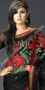 Black Moslin Saree